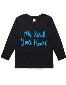 Mr Steal Your Heart- Kids Long Sleeve Shirt- Blue