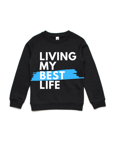 Living my best life- Kids Crew Jumper- Blue