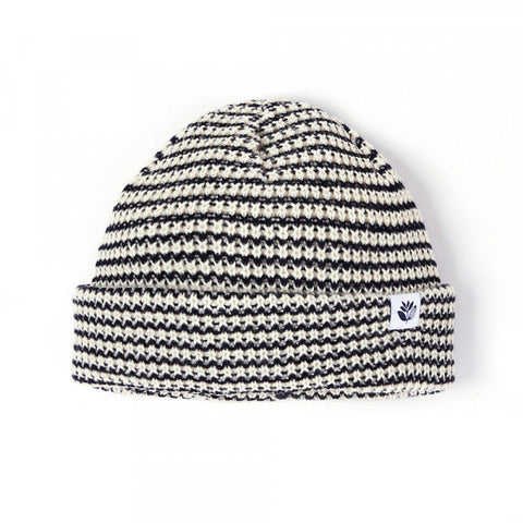 Magenta - Striped Low Beanie Black White