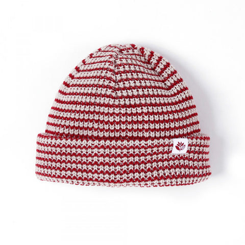 Magenta - Stripes Low Beanie Burg White