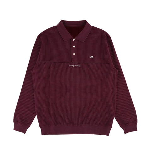 Magenta - Waffle L/s Polo Burgundy
