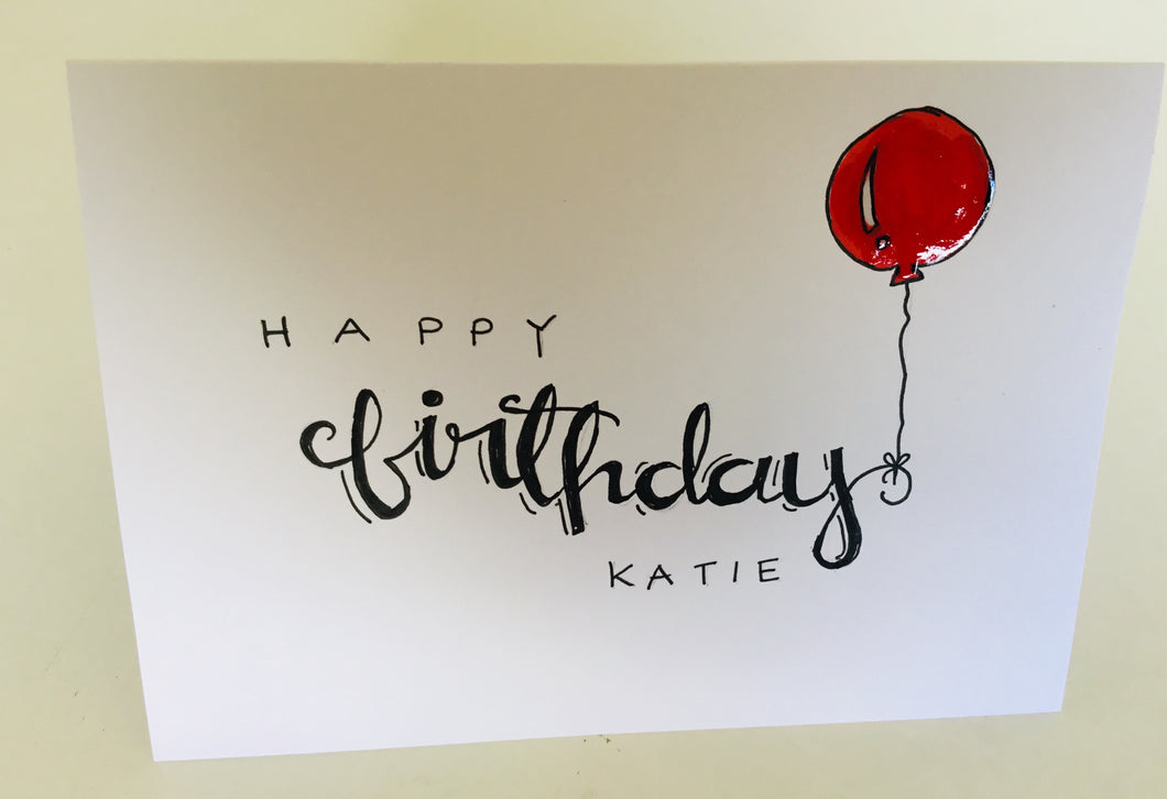 Hand painted personalised birthday card