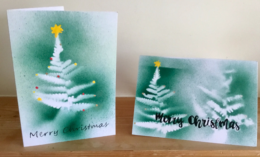 Christmas Card set of 4 Hand painted / sprayed