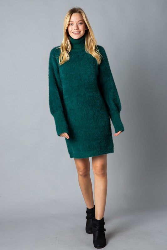 Women's soft mohair turtleneck sweater dress