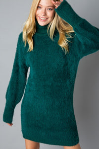 Green Fuzzy Sweater Dress