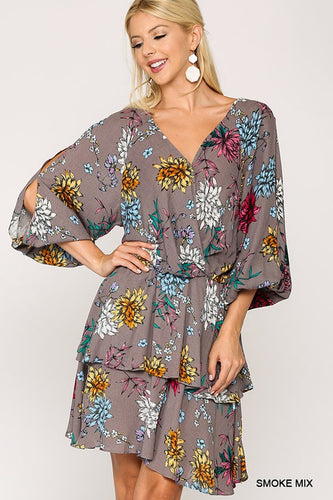 Surplice Front Open Sleeve Tiered Bottom Dress