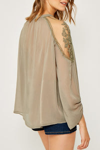 Olive Sheer Lace Detailed Top
