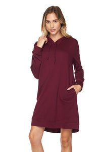 Women's hoodie dress in burgundy.