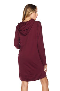 Hoodie Dress in Burgundy