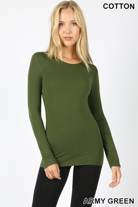 Women's Regular Fit Long Sleeve Crewneck T-Shirt in Army Green