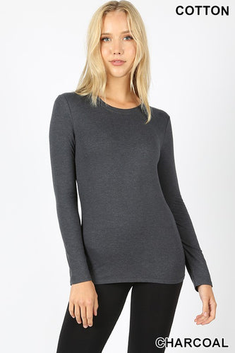 Women's Regular Fit Long Sleeve Crewneck T-Shirt in Charcoal
