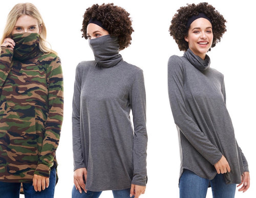 Long Sleeve Turtle Neck Mask Tunic