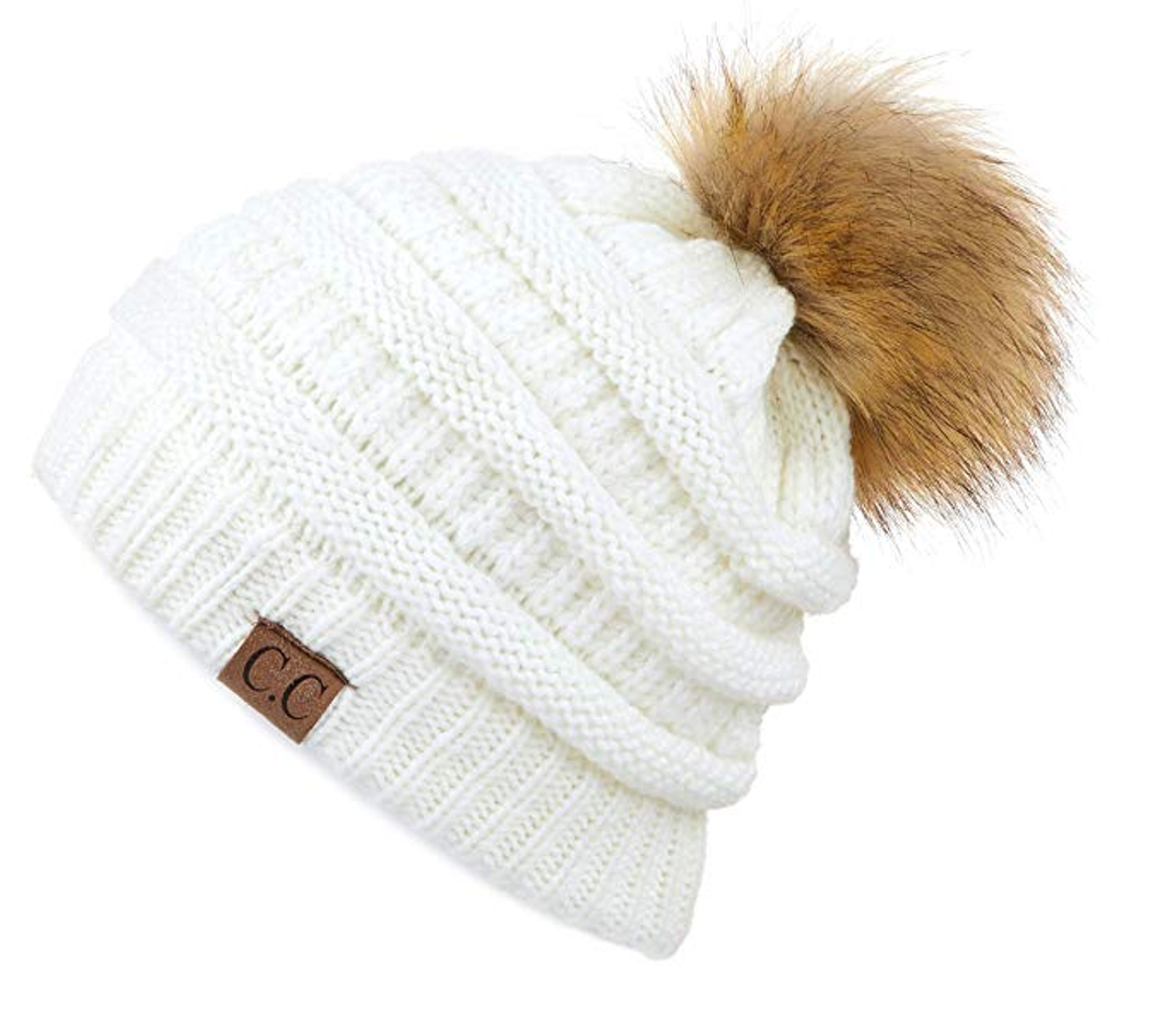 CC Beanie with Fur Pom in Ivory