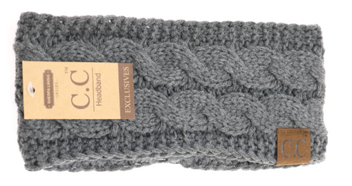Solid Cable Knit CC Head Wrap in Dark Grey with Fur Lining