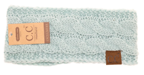 Solid Cable Knit CC Head Wrap in Mint with Fur Lining
