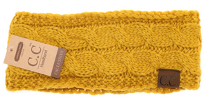 Solid Cable Knit CC Head Wrap in Mustard with Fur Lining