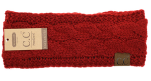 Solid Cable Knit CC Head Wrap in Red with Fur Lining