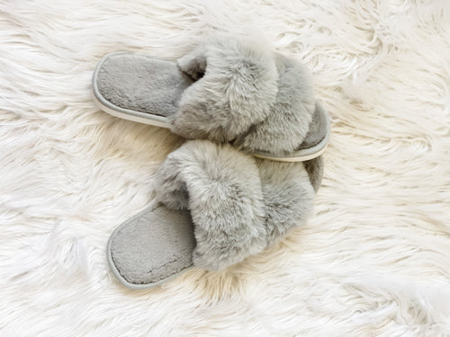 Grey Fuzzy Slippers