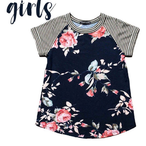Girls Floral Striped Top