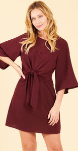 Burgundy Front Tie Midi Dress
