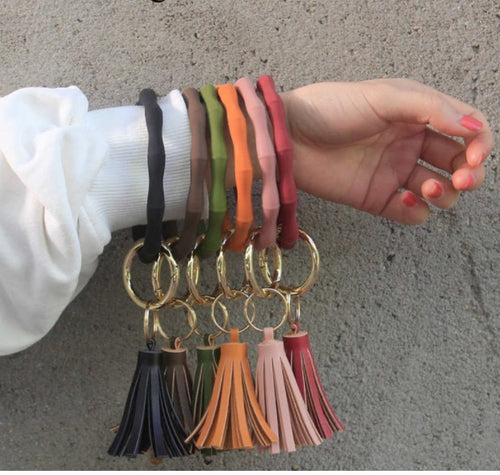 Keyring Bangle Bracelet with Tassel