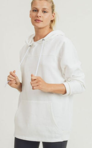 Ivory Longline Hoodie Pullover with Yoke Accent
