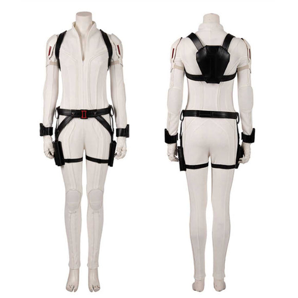 Women Soldier Cosplay Costume Bodysuit Outfits - White Jumpsuit