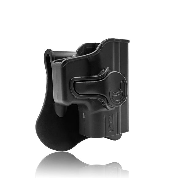 "Amomax Adjustable Tactical Holster for HS2000 (Springfield XD)/45ACP/HS2000 (Springfield XD) 9mm/HS2000 SubCompact 3"" (Springfield XD 3"") 9mm/Girsan MC28 - Right-handed Black (Standard only with waist plate, no other accessories)"