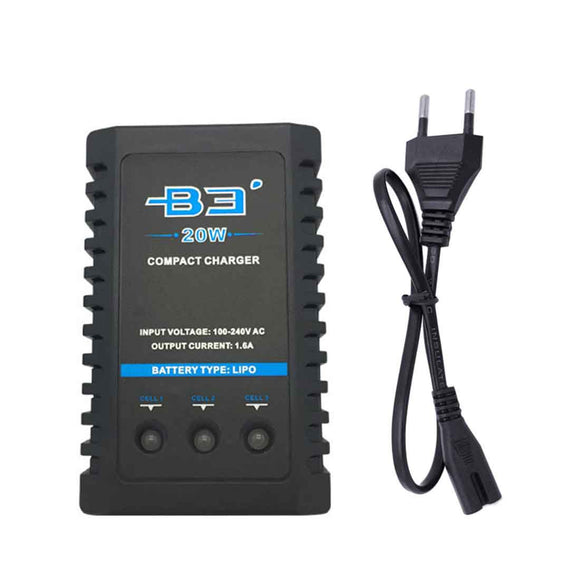 B3 2s-3s Lithium Battery Balance Charger 20W Fast Charge Plug (7.4v/11.1v)