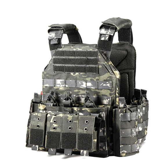 YAKEDA Modular Tactical Vest Plate Carrier Vest- Night Camo