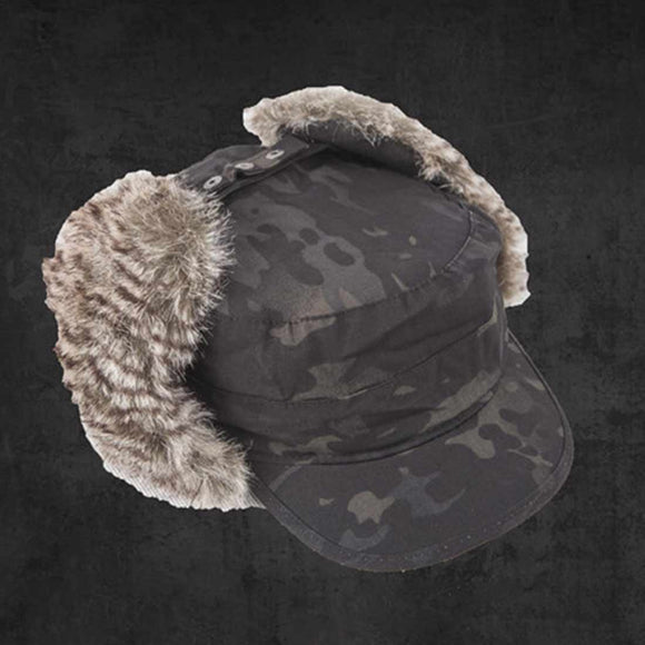 TMC Windproof Hat Winter Warm Hat Trapper Cap with Ear Flap for Head Circumference  - Camouflage Black