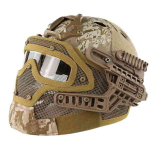 Wosport Fast Tactical Helmet Combined with Full Face Mask and Goggles for Airsoft Paintball - tacticalxmen