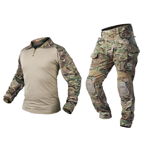 IDOGEAR Tactical G3 Combat Suit Shirt & Pants Knee Pads Update Ver Camo Combat Uniform-MC