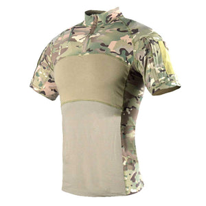 IDOGEAR Tactical Shirt Short Sleeve Top Camo Outdoor Combat T-Shirt-MultiCam
