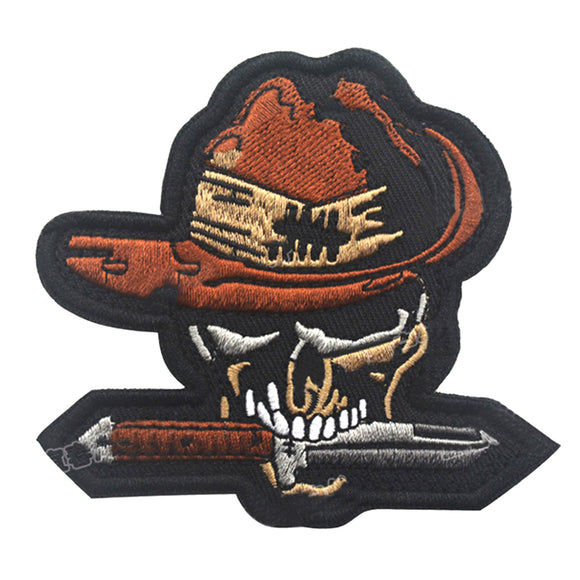 AOTDDOR 8cm×8cm Skull Embroidery Backpack Clothes Decorative HOOk&LOOP Patch - tacticalxmen
