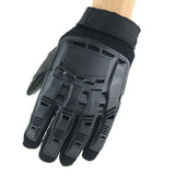 Survivors Tactical Military Rubber Hard Knuckle Protective Full-finger Gloves - Black - tacticalxmen