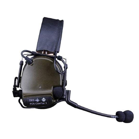 FCS C3 Headset COMTAC3 Pickup Noise Reduction Headphone Tactical Headset - Olive Drab Normal Ear Pad