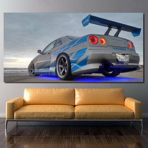 GT-R R34 Skyline Fast & Furious Canvas FREE Shipping Worldwide!!