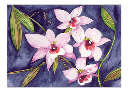 Australian Orchid Pink - A6 Art Card Helen Ashley Designs