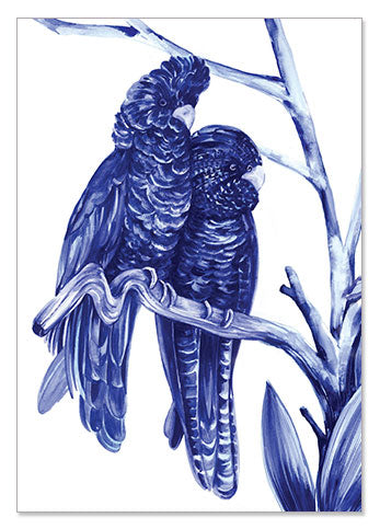 Blue Bird Pair - A6 Art Card