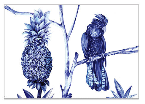 Blue Pineapple Bird - A6 Art Card
