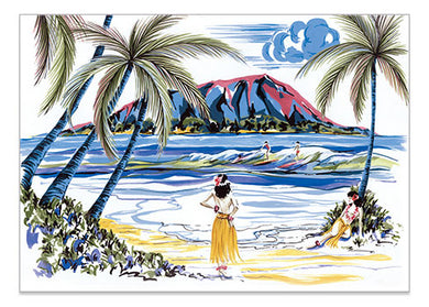 Hawaiian Holiday Surfers - A6 Art Card