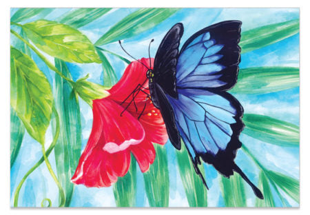 Ulysses Butterfly Hibiscus - A6 Art Card