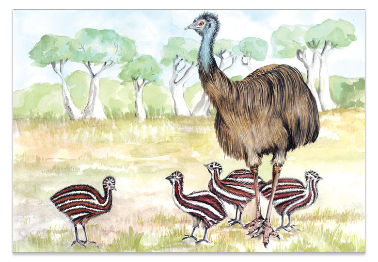 Emu Family - A6 Art Card