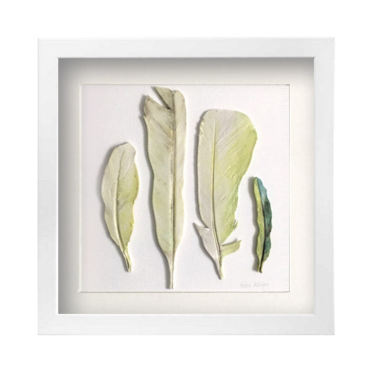 Cockatoo and Green Parrot - Feathers Framed