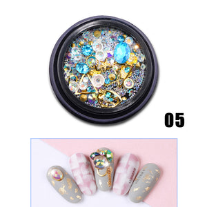 YAYOGE 12Type Flat Back Nail Glitter Diamond Rhinestone Sequins 3D Crystal Stone Nail Art DIY Jewelry Decoration - YAYOGE Official