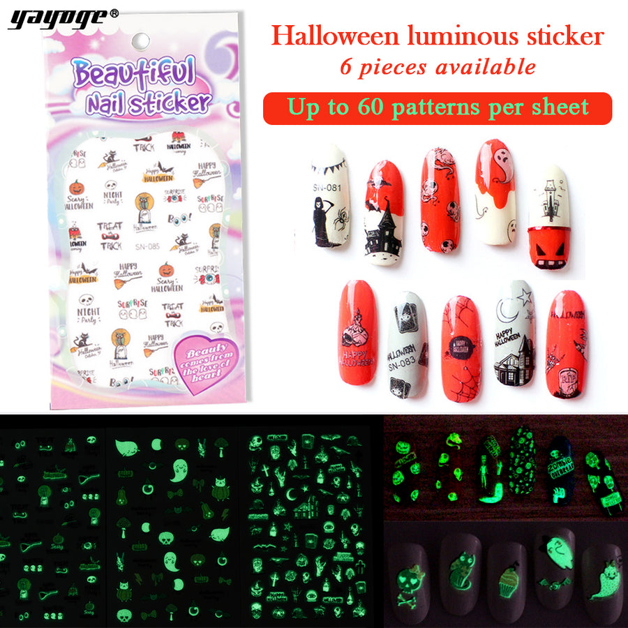 Water Transfer Decros Luminous Nail Sticker SN