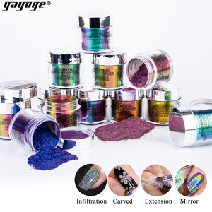 US WAREHOUSE YAYOGE 4 in 1 Dipping Powder Natural Dry Mirror Glitter/Extension/Craved/Infiltration - YAYOGE Official