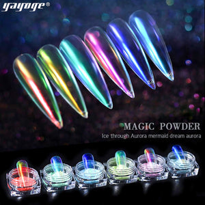 YAYOGE Aurora Ice Transparent Mirror Powder Nail Chrome