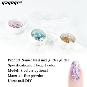 YAYOGE 8Colors Selectable Sparkling Ash Glitter Nail Sequins For Nail Salon DIY Design - YAYOGE Official